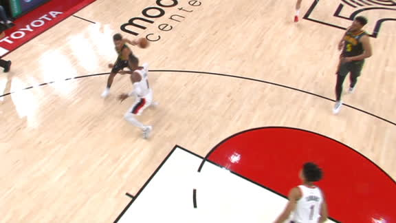 Trae makes nice behind-the-back assist to Parker for and-1 layup