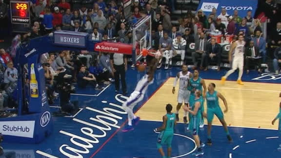 Embiid fools Zeller and slams it home