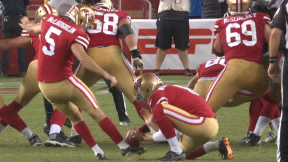 49ers rookie kicker drills FG, sends game to OT
