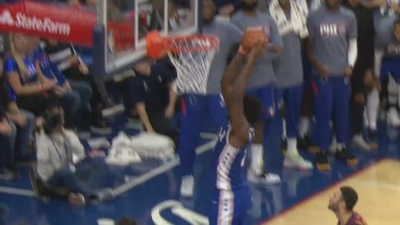 Embiid dunks ball with seconds on clock to give Sixers the win