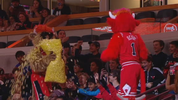 Bulls mascots douse fans with popcorn