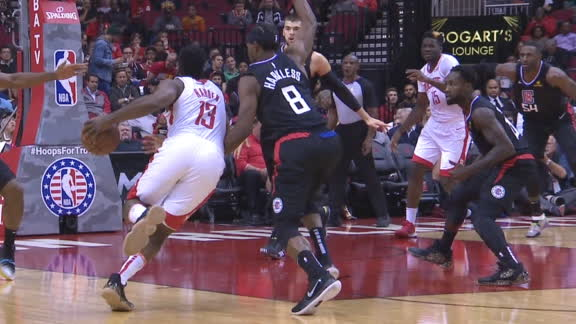 Harden isolates Harkless for bucket
