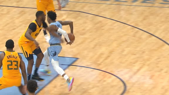 Morant schools Mudiay with ridiculous behind-the-back finish
