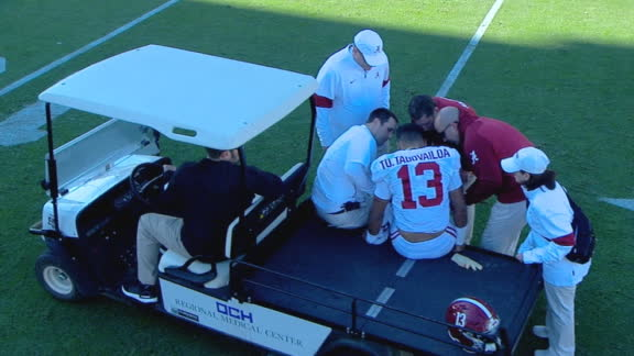 Tua carted off field after taking big hit