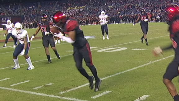 SDSU's Barcoo keeps his feet inbounds for the INT