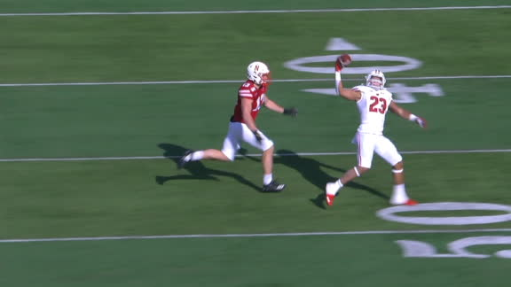 Taylor makes the one-handed catch, but Cornhuskers force a fumble