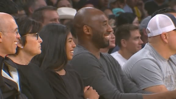 LeBron daps up Kobe courtside