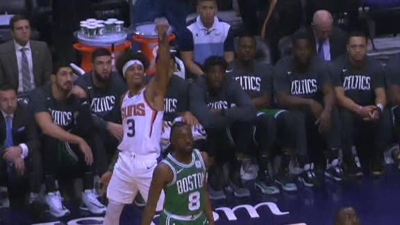 Oubre blows kiss to Celtics bench after 3-ball