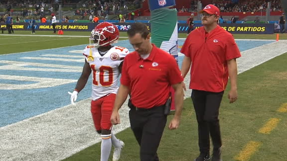 Hill heads to locker room with hamstring injury
