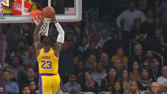 Rondo lofts it up to LeBron for the dunk