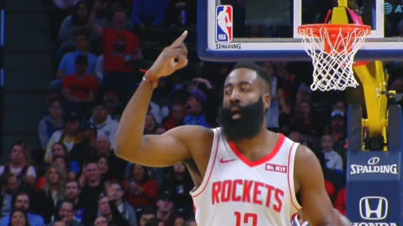 Harden drains 3-pointer just inside the logo