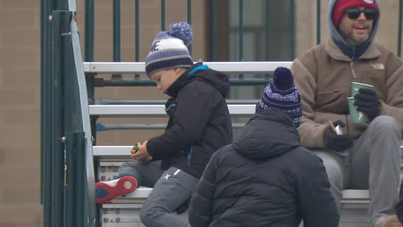 The real game is in the stands for this young Northwestern fan