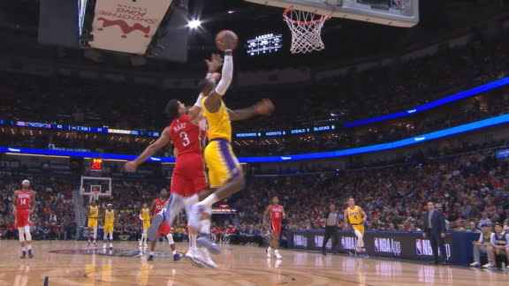 LeBron wins jump ball and scores