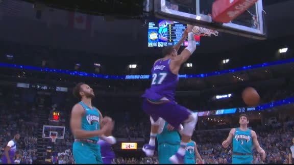 Gobert flushes home the feed from Mitchell