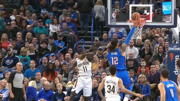 Gallinari's slick between-the-legs dish sets up Adams dunk