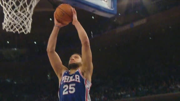 Simmons steals inbound, finishes with dagger dunk