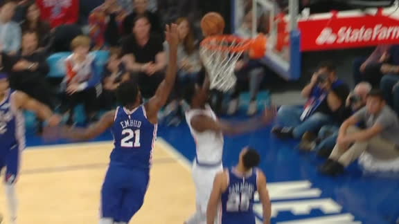 Embiid swats Randle's shot off glass