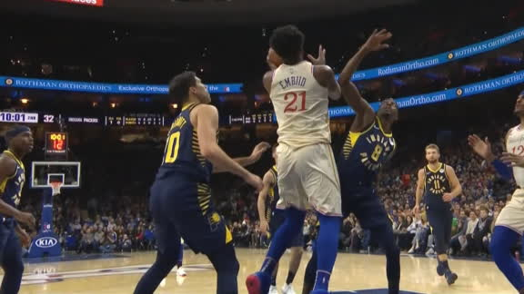 Embiid gets tough hook shot to fall