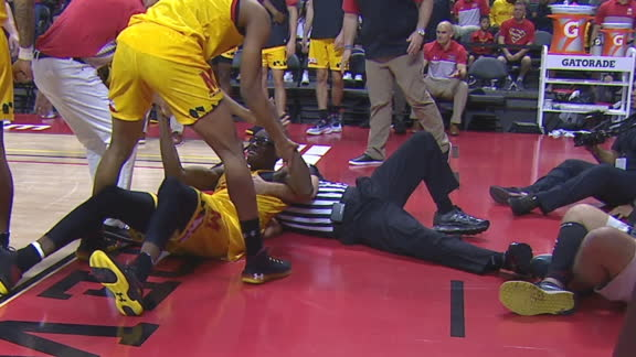 Maryland big man goes down after ref takedown