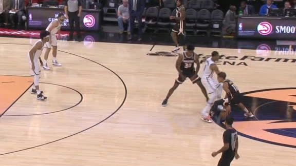 Young shakes defender for 3-ball