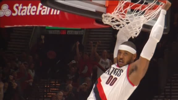 Melo flushes fast-break dunk