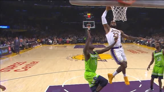 LeBron James elevates for nasty dunk