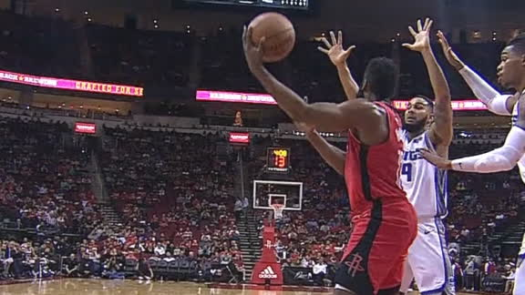 Harden gets over-the-head, no-look pass to Capela