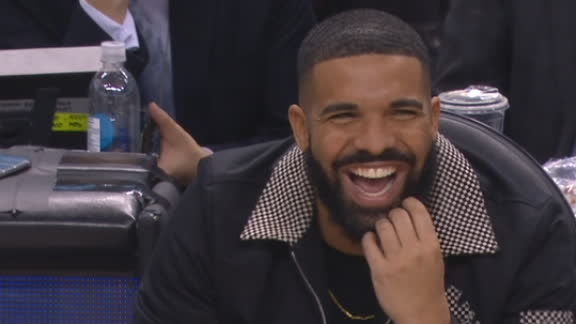 Drake, Pat Bev clown on sidelines