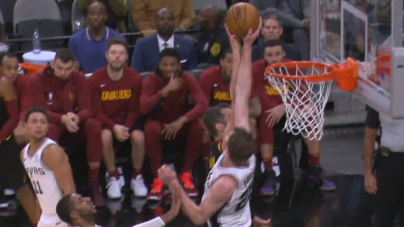 Poeltl denies Love at the basket