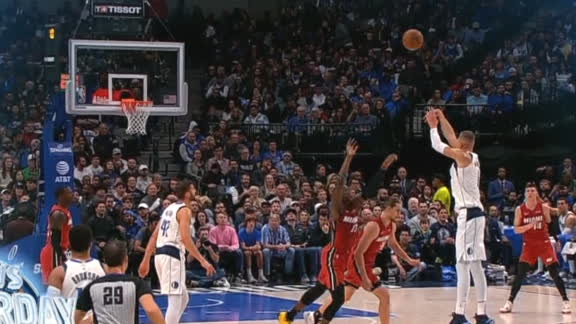 Porzingis banks in buzzer-beater from Mavs logo