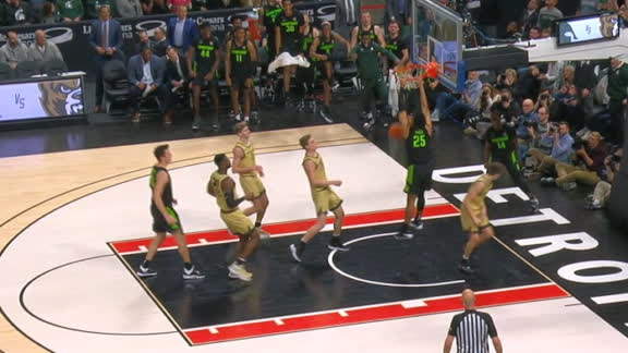 Izzo's rebound leads to a Hall dunk