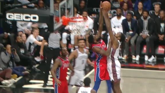 Pelle blocks Jordan at the rim