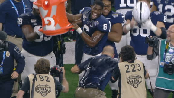 Franklin gets Gatorade bath, tackles his own player