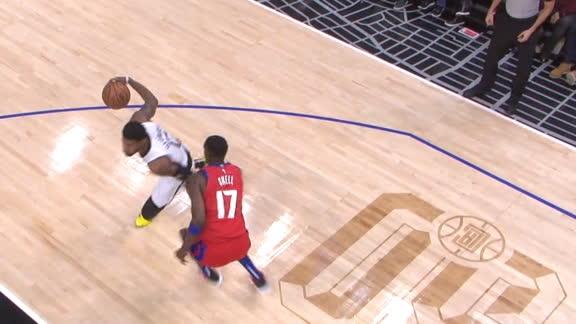 PG crosses defender en route to the hoop