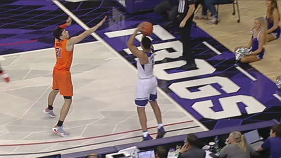 TCU's Bane knocks down the corner triple