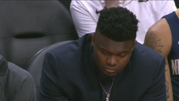Zion appears to be dozing off on Pelicans' bench