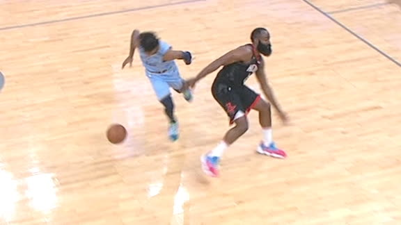 Morant goes behind the back on Harden to toss the lob