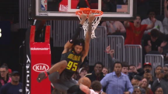 Young heaves half-court oop for Bembry slam