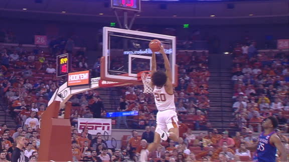 Texas' Sims flushes 2-hand slam