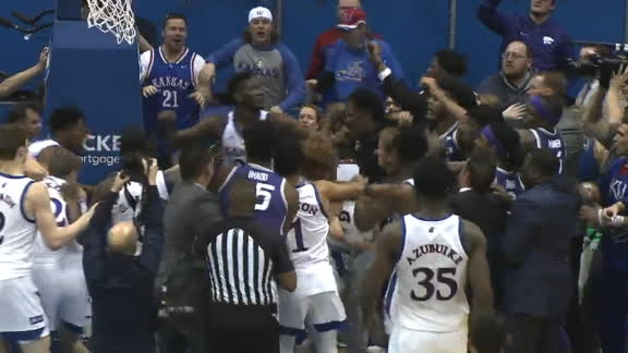 Massive brawl breaks out at end of Kansas-Kansas State