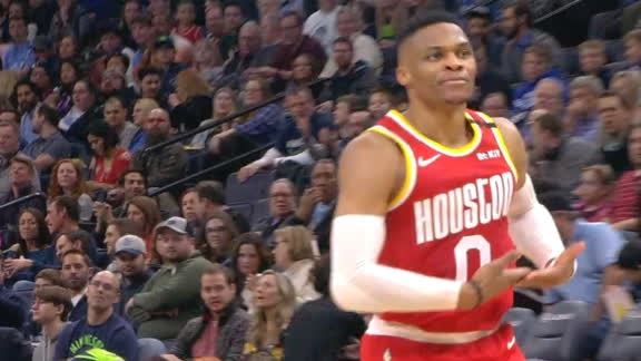 Russ rocks the baby after fadeaway jumper