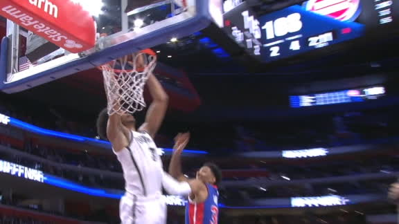 Allen's alley-oop jam extends the Nets' OT lead