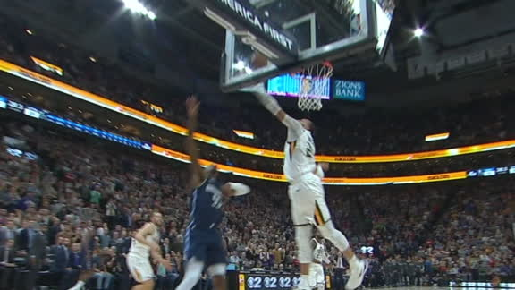 Gobert blocks Wright at the rim