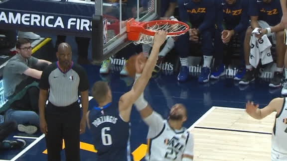 Porzingis dunks over Gobert