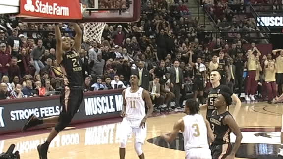 Vassell's alley-oop dunk gets the FSU crowd on their feet