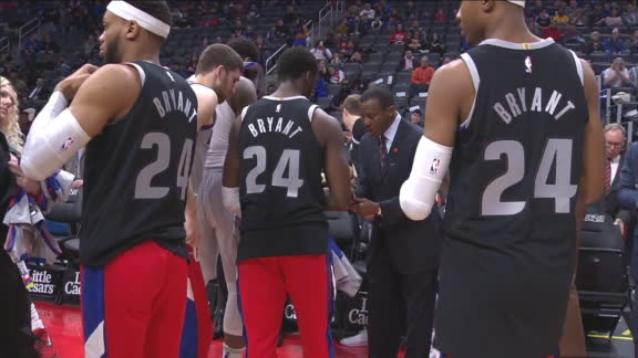 Pistons are introduced wearing jerseys to honor Kobe