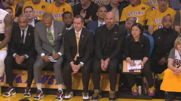 Lakers coaches rock Kobe kicks on bench
