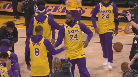 LeBron and all the Lakers introduced as Kobe
