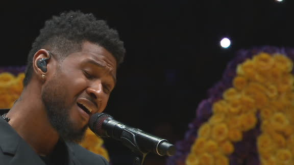 Usher performs 'Amazing Grace' to begin ceremony