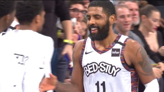 Kyrie finishes half 10-of-10 with a buzzer-beating 3